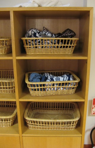 The low-security approach to clothes storage is evidence of Japan's low crime rate, but in a modern super-sento you're more likely to encounter lockers than traditional baskets like these